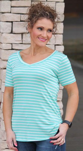 Mint Stripe Basic - Women *Final Sale*