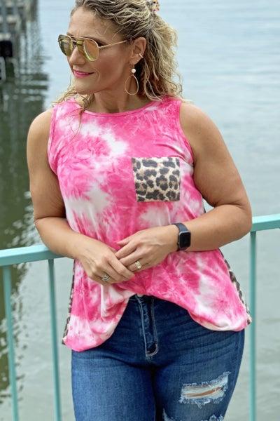 Twisted Pink Tie Dye Tank For Women