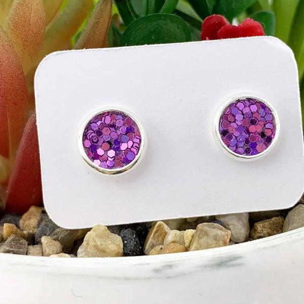 Sweet Lavender Glitter Stud Earrings *Final Sale*