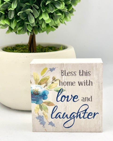 Love & Laughter Mini Wood Sign