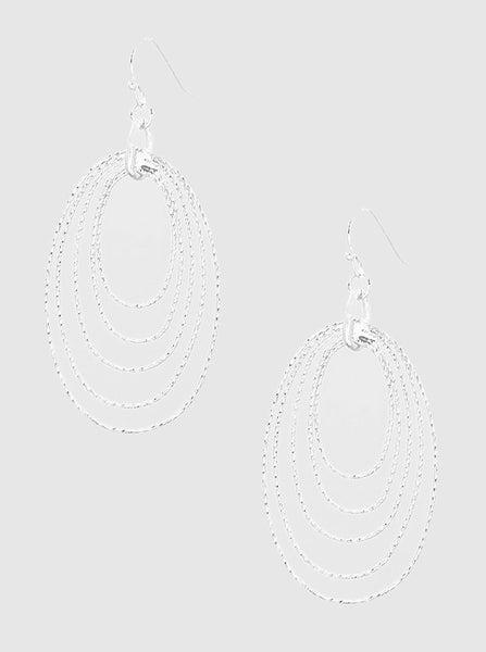 Silver Oval Stacked Hoop Earrings *Final Sale*