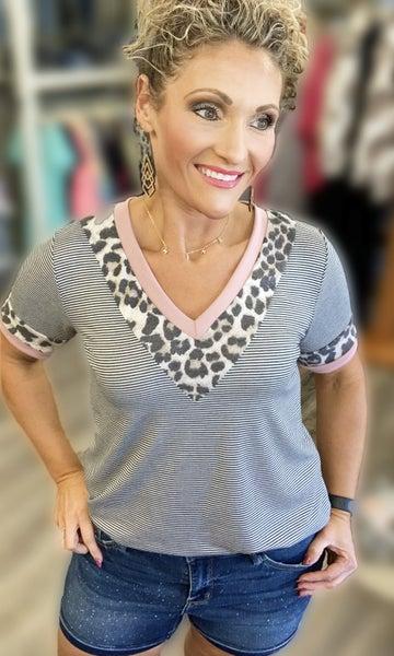 Mauve Leopard & Stripes Top For Women