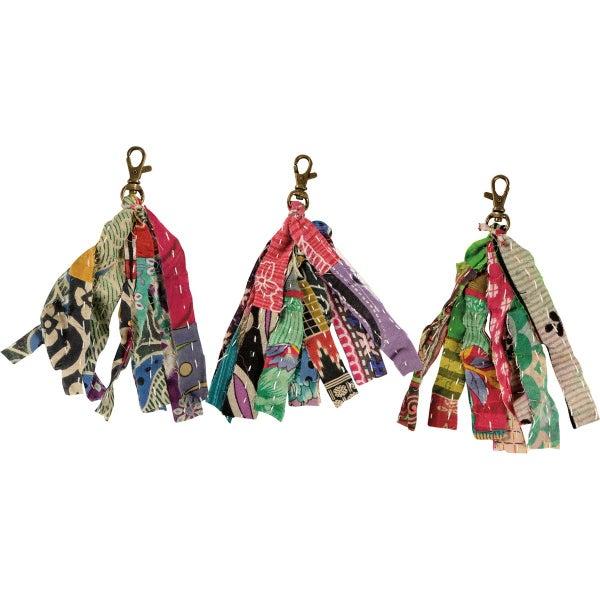 Kantha Strips Keychain *Final Sale*