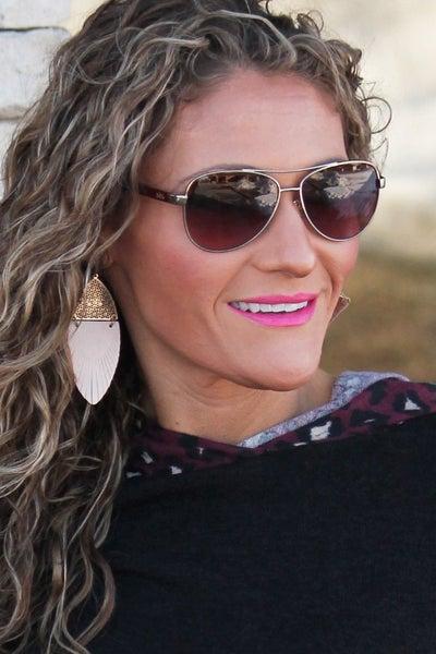 Elegant Beige Leather Earrings *Final Sale*
