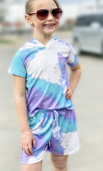 Mermaid Tie Dye Outfit Set For Girls