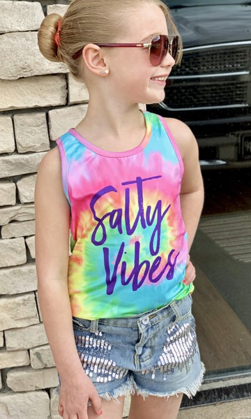 Salty Vibes Tie Dye Tank For Girls