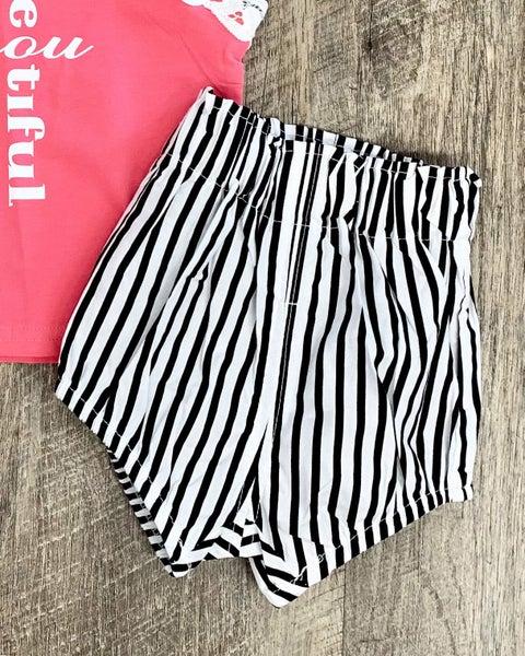 Stripe Paperbag Shorts For Girls