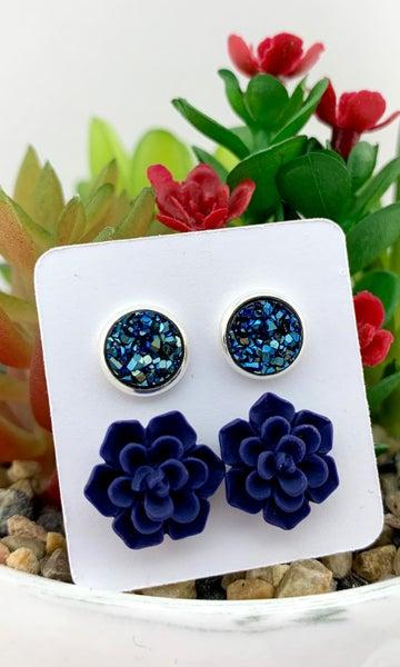 Navy Druzy & Succulent Stud Earrings *Final Sale*