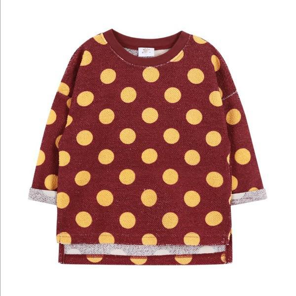 Maroon & Mustard Polka Dot Top - Girls
