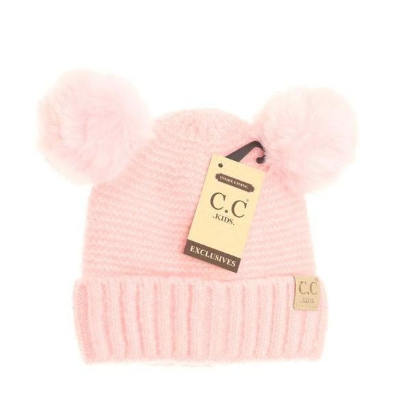 C.C. Pink Double Pom Beanie For Kids