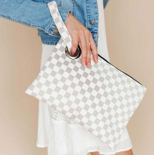 Luxury White Checkered Clutch