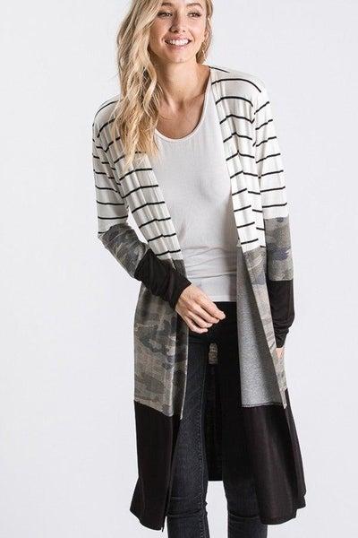 Camo & Stripe Cardigan For Women