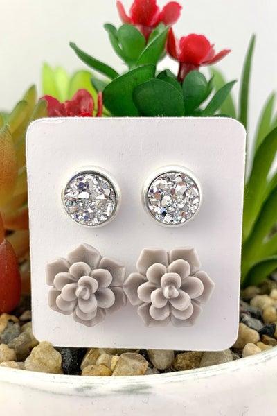 Silver Druzy & Succulent Stud Earrings *Final Sale*