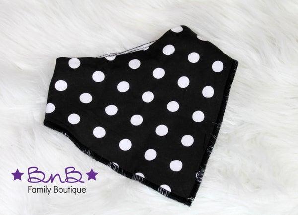 Black / White Polka Dot Bandana Bib