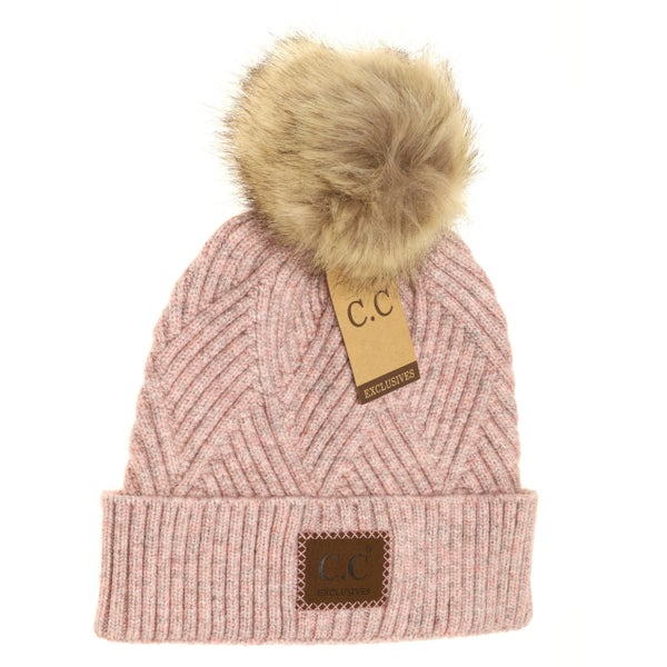 C.C. Heathered Rose Fur Pom Beanie For Women
