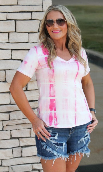 Pink Tie Dye Top For Women *Final Sale*