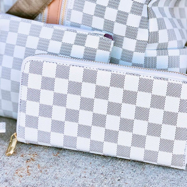 White Checkered Wallet With Strap