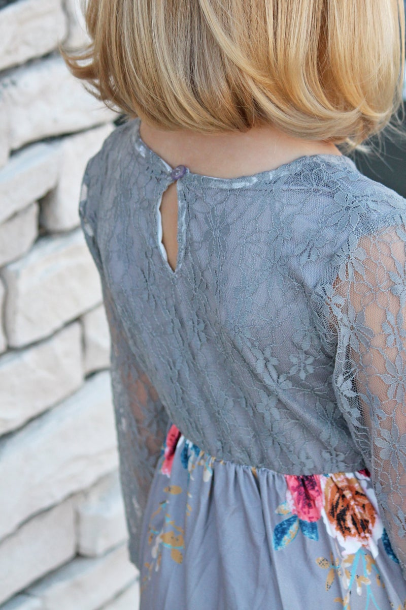 Gray Floral Lace Maxi Dress - Girls *Final Sale*