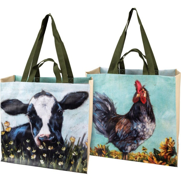 Rooster & Cow Market Tote Bag *Final Sale*