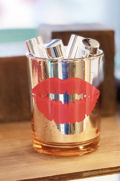 Gold Glitter Makeup Brush Holder - Lips *Final Sale*