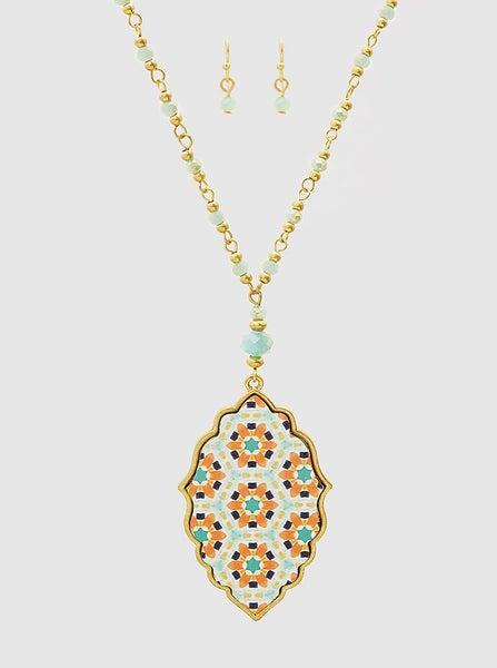 Aqua Quatrefoil Necklace *Final Sale*