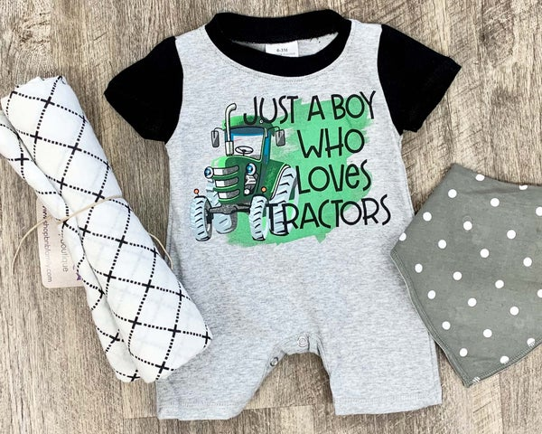 Just A Boy Who Loves Tractors Shorts Romper