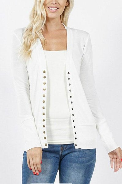 Ivory Snap Cardigan For Women *Final Sale*
