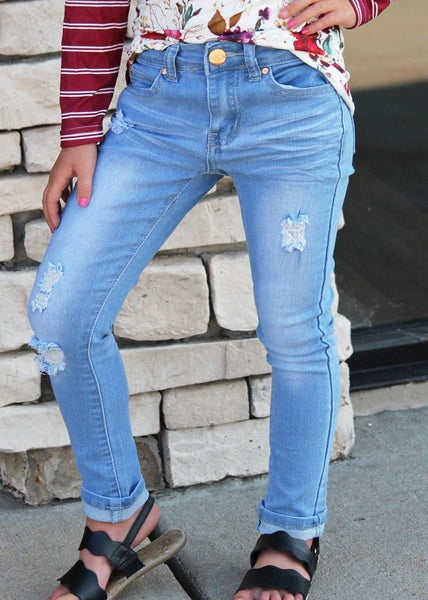 Distressed Light Denim Jeans For Girls