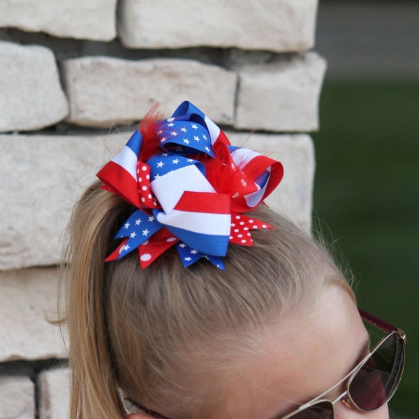 Red, White & Blue Stacked Bow For Girls *Final Sale*