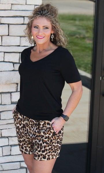 High Waist Leopard Paperbag Shorts with Belt *Final Sale*