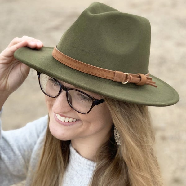 Olive Fedora Hat For Women
