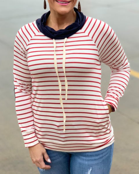 Red & Ivory Stripe Pullover For Women *Final Sale*