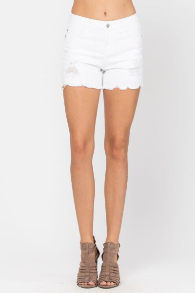 Judy Blue White Lace Patch Destroyed Shorts For Women