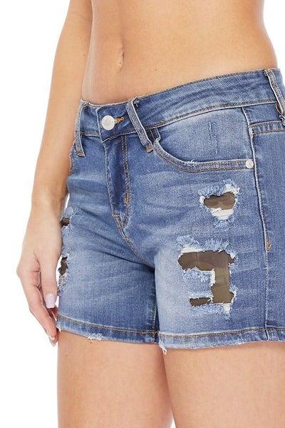 Judy Blue: Camo Patch Mid Rise Denim Shorts - Women