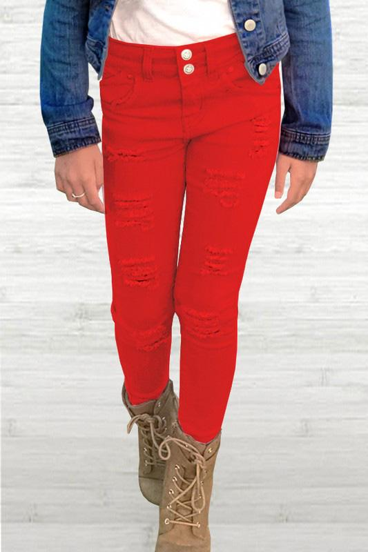 Red Distressed Denim For Girls *Final Sale*