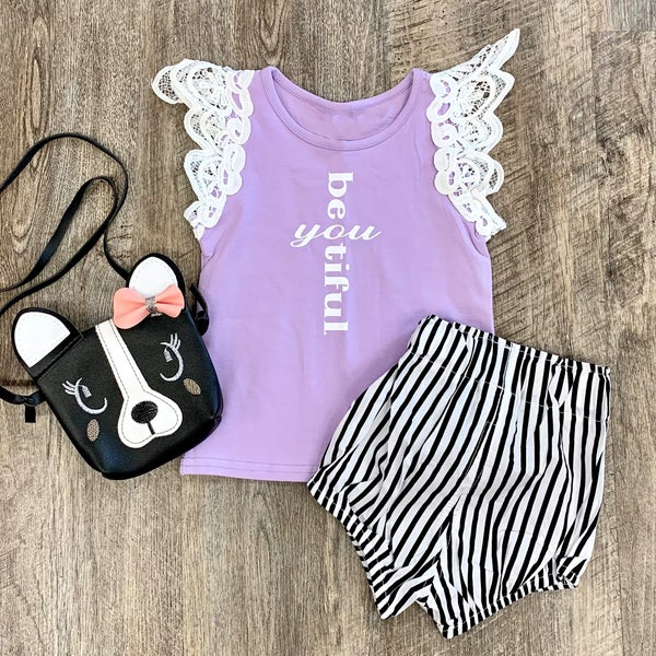 Lavender Beautiful Lace Tank For Girls