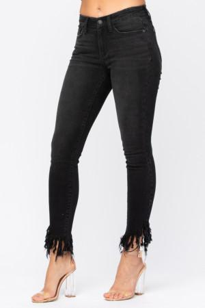 Judy Blue Black Mid Rise Frayed Hem Denim Jeans
