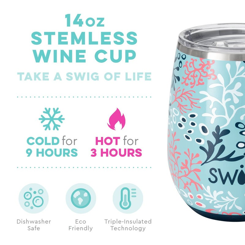 Coral Me Crazy 14oz Stemless Wine Cup