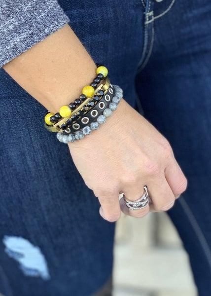 Black & Gold Fleck Bracelet Stack For Women *Final Sale*