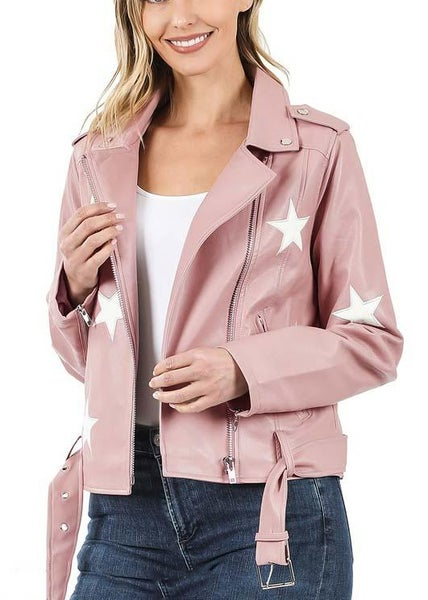 Blush Pink Rockstar Jacket For Women