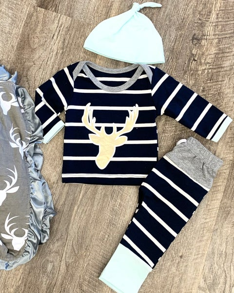 Navy Deer Head 3pc Set For Baby