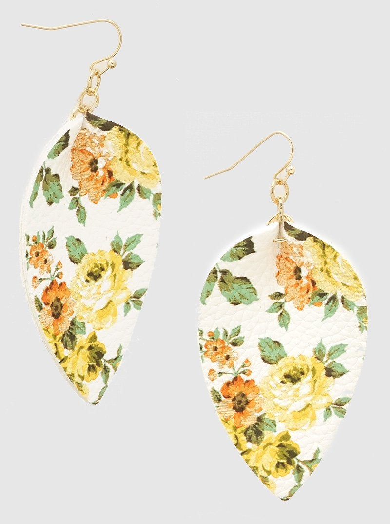 Yellow Floral Teardrop Leatherette Earrings *Final Sale*
