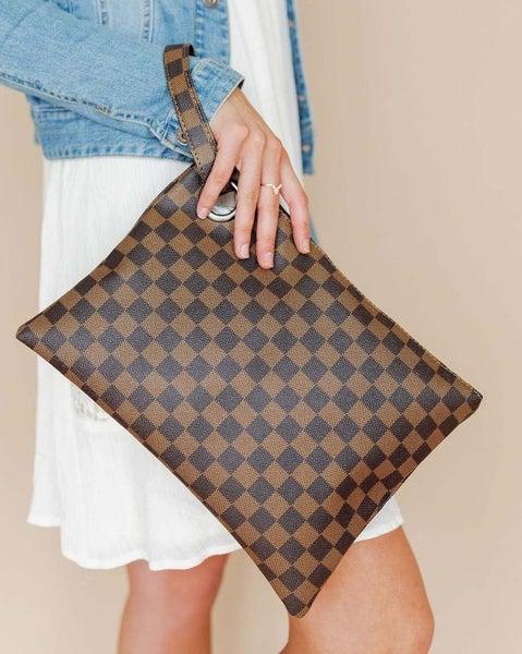 Luxury Brown Checkered Clutch