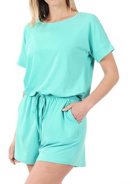 Mint Shorts Romper For Women