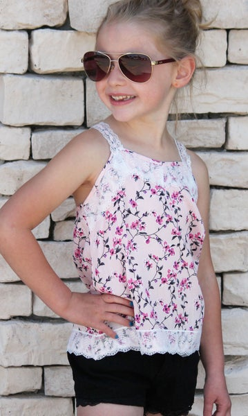 Pink Floral Tank For Girls