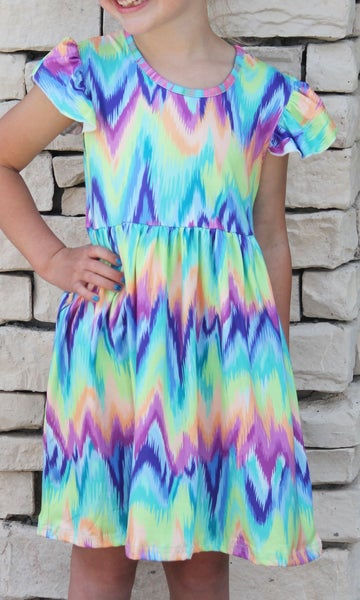 Rainbow Tie Dye Dress For Girls