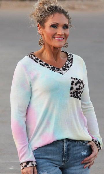 Pastel Tie Dye Animal Print Top For Women