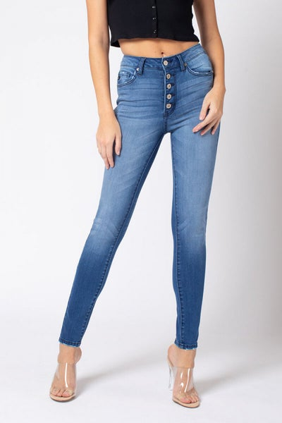 KanCan: High Rise Non Distressed Button Fly Denim