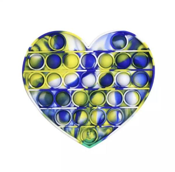 Blue & Yellow Heart Fidget Popper *Final Sale*