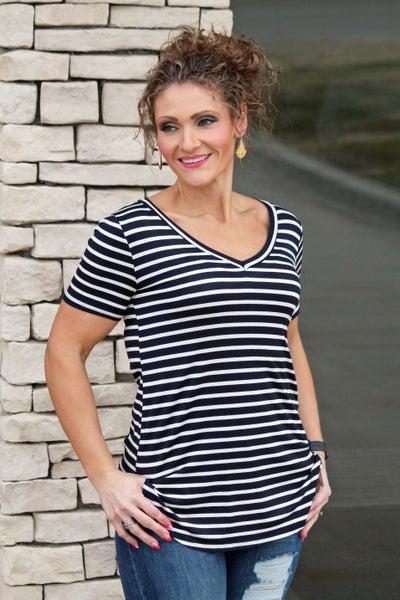 Navy Stripe Basic - Women *Final Sale*
